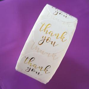 "500 pcs White Gold Foil Thank You Stickers 1"""